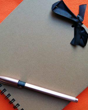 Mardy Mardy Custard Kraft Notebook with ribbon and pen